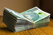 picture of zloty  - Stack of polish zloty banknotes - JPG