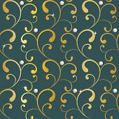 abstract ornament with gold and pearl on gray background