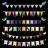 Retro bunting and garland set vector. Template for design