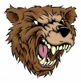 stock photo of animal teeth  - An illustration of a fierce bear animal character or sports mascot - JPG