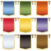 pic of tassels  - set of glossy wall hanging banners with gold tassels 9 variations isolated on white - JPG