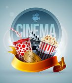 Popcorn box; disposable cup for beverages with straw, film strip, clapper board and ticket. Cinema P