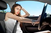 Young Sad Woman Hurry To Work While Standing In Traffic