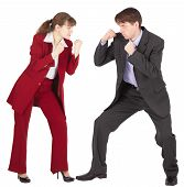 Man And Woman In Business Suits Are Going To Fight