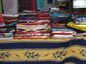 colored fabrics for tablecloths and scarves