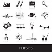 pic of einstein  - 16 black simple physics icons set eps10 - JPG