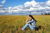 Yoing Woman In Haystacks On Fields
