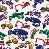 Color Heavy Machinery Cars Seamless Pattern Eps10