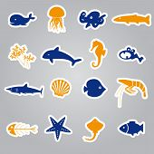 Fish And Sea Life Stickers Set Eps10