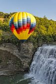 Hot Air Ballooning Over The Middle Falls At Letchworth State Park