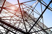 Ferris Wheel Steel Structure Under The Blue Sky