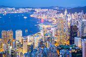 Aerial Hong Kong Skyline from Victoria Peak at dusk
