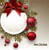 stock photo of bowing  - Christmas gift card with red ribbon and red Christmas baubles - JPG
