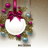 Christmas gift card with ribbon and Christmas baubles. Vector illustration.
