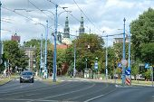 Traffic On Mostowa Street In Poznan, Poland