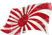 waving Japan grunge flag. flag of  Japan in the wind with a texture