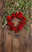 Christmas Branches And Red Wreath