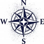 Wind rose with ink blots