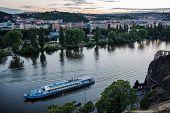 Landscape of Vltava river from Vysehrad in early evening, Prague
