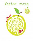 Vector Maze, Labyrinth education Game for Children with Monkey and Banana.