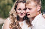 Young Love couple portrait sensitive moment