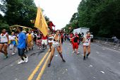 Revelers with flags advance on Flatbush
