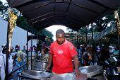 Working steel drums on float