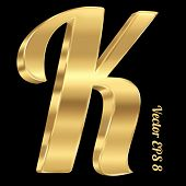 foto of letter k  - 3d golden vector alphabet letter K - JPG