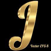 3d golden vector alphabet letter J. Vintage font, eps 8