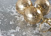 Golden Christmas Ornaments With Snow