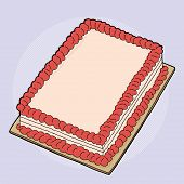 image of fancy cake  - Hand drawn fancy strawberry sheet cake cartoon - JPG