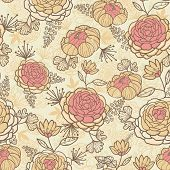 Vintage brown pink flowers seamless pattern background