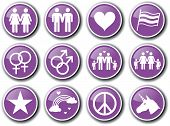 Gay homosexuality purple icon set