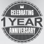 Celebrating 1 Years Anniversary Retro Label, Vector Illustration