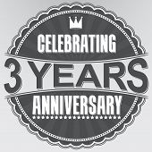 foto of celebrate  - Celebrating 3 years anniversary retro label vector illustration - JPG