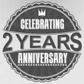 Celebrating 2 Years Anniversary Retro Label, Vector Illustration