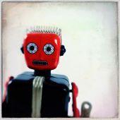 Instagram filtered image of a vintage toy robot