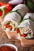 Tortilla Roll With Chicken, Vegetables Closeup Vertical