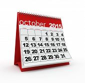image of october  - October 2015 monthly calendar on white background - JPG
