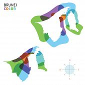 Abstract vector color map of Brunei with transparent paint effect.