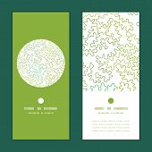Vector curly doodle shapes vertical round frame pattern invitation greeting cards set