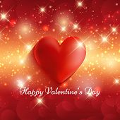 Valentine's Day background with glossy red heart