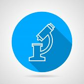 Flat blue icon for microscope
