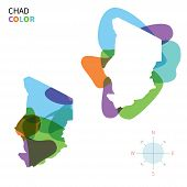Abstract vector color map of Chad with transparent paint effect.