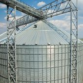 Ukraine, Odessa - AUGUST 2, 2014: Towers of grain drying enterprise.