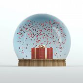 Valentine's day snow globe