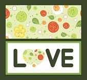 Vector fresh salad love text frame pattern invitation greeting card template