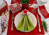 Festive Christmas Napkin Tree Table Setting
