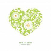 Vector green and golden garden silhouettes heart silhouette pattern frame