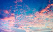 Sky, Bright Blue, Pink And Yellow Colors Sunset. Instant Photo, Toned Image